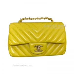 Chanel Small Flap Bag Bright Yellow Lambskin Chevron With Gold HW