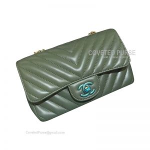 Chanel Small Flap Bag Greeks Green Lambskin Chevron With Gold HW