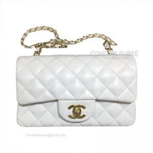 Chanel Small Flap Bag White Lambskin With Gold HW