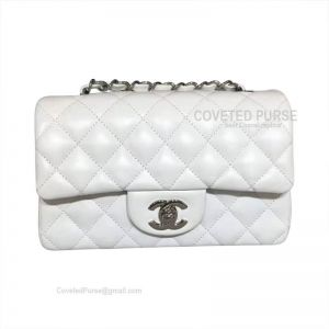 Chanel Small Flap Bag White Lambskin With Silver HW