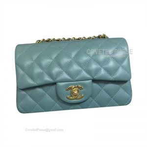 Chanel Small Flap Bag Mint Green Lambskin With Gold HW