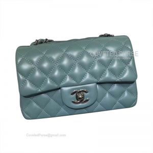Chanel Small Flap Bag Mint Green Lambskin With Silver HW