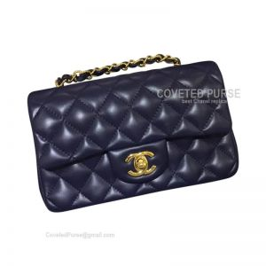 Chanel Small Flap Bag Sapphire Lambskin With Gold HW