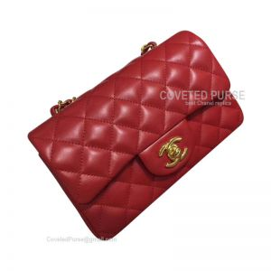 Chanel Small Flap Bag Red Lambskin With Gold HW