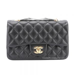 Chanel Small Flap Bag Black Lambskin With Gold HW