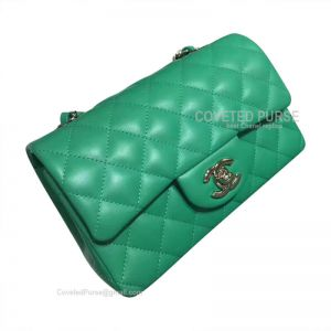 Chanel Small Flap Bag Lake Green Lambskin With Silver HW