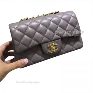 Chanel Small Flap Bag Gray Lambskin With Gold HW