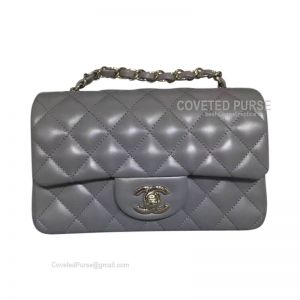 Chanel Small Flap Bag Gray Lambskin With Silver HW