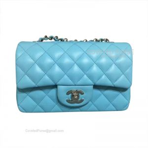 Chanel Small Flap Bag Ma Caron Blue Lambskin With Silver HW