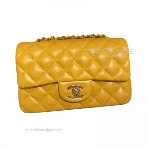 Chanel Small Flap Bag Mango Yellow Lambskin With Gold HW