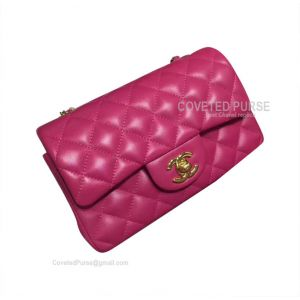 Chanel Small Flap Bag Rose Lambskin With Gold HW