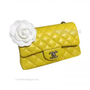 Chanel Small Flap Bag Lemon Yellow Lambskin With Silver HW