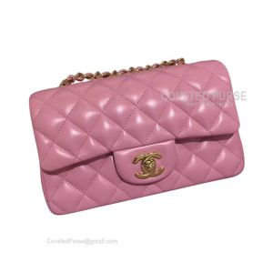 Chanel Small Flap Bag Peach Pink Lambskin With Gold HW