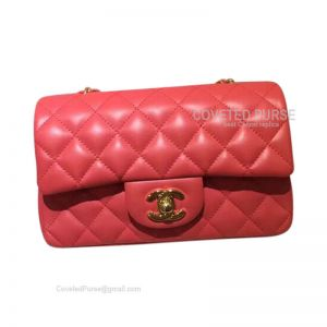 Chanel Small Flap Bag Watermelon Red Lambskin With Gold HW