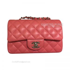 Chanel Small Flap Bag Watermelon Red Lambskin With Silver HW