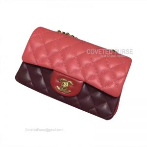 Chanel Small Flap Bag Double Red Lambskin With Gold HW