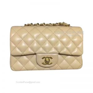 Chanel Small Flap Bag Apricot Lambskin With Gold HW