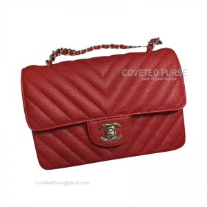 Chanel Small Flap Bag Red Caviar Chevron With Silver HW