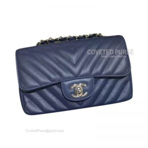 Chanel Small Flap Bag Navy Blue Caviar Chevron With Silver HW