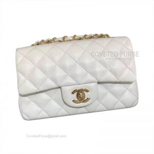 Chanel Small Flap Bag White Caviar With Gold HW