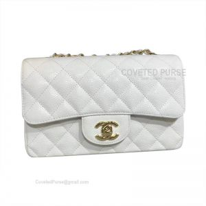 Chanel Small Flap Bag Caviar White With Gold HW