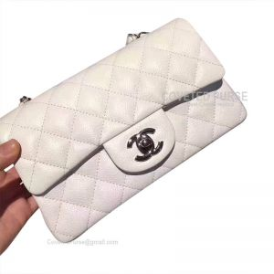 Chanel Small Flap Bag White Caviar With Silver HW