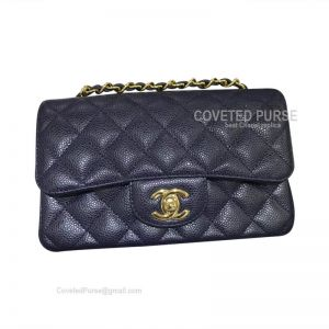 Chanel Small Flap Bag Navy Blue Caviar With Gold HW