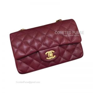 Chanel Small Flap Bag Wine Caviar With Gold HW