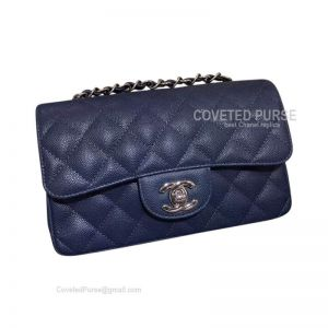 Chanel Small Flap Bag Light Blue Caviar With Silver HW