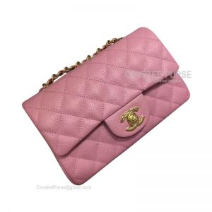 Chanel Small Flap Bag Peach Pink Caviar With Gold HW