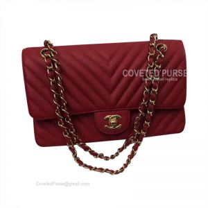 Chanel Medium Flap Bag Red Calfskin Chevron With Gold HW