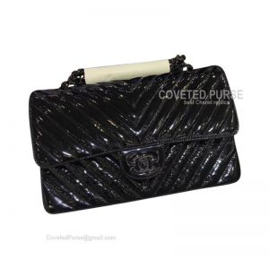 Chanel So Black Medium Flap Bag Patent Chevron With Black HW