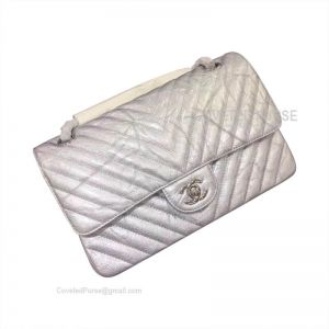 Chanel Medium Flap Bag Patent Chevron In Metallic With Silver HW