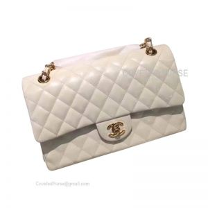 Chanel Medium Flap Bag Patent In White With Gold HW