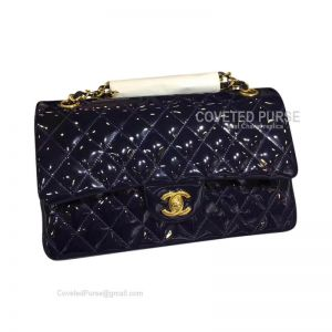Chanel Medium Flap Bag Patent In Sapphire With Gold HW