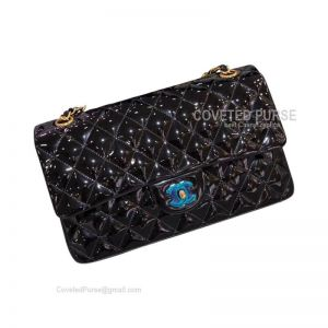 Chanel Medium Flap Bag Patent In Black With Gold HW
