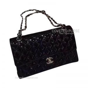 Chanel Medium Flap Bag Patent In Black With Silver HW