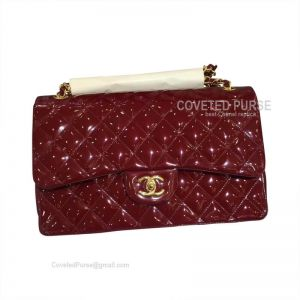 Chanel Medium Flap Bag Patent In Wine With Gold HW