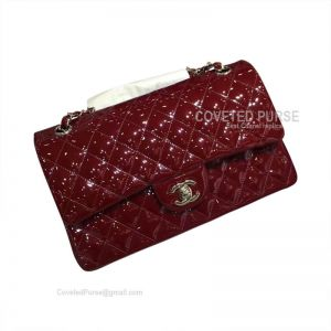 Chanel Medium Flap Bag Patent In Wine With Silver HW