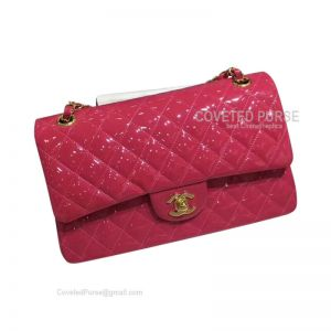 Chanel Medium Flap Bag Patent In Rose With Gold HW