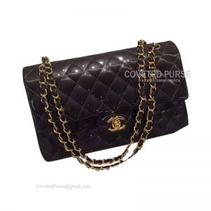 Chanel Medium Flap Bag Patent In Iron Gray With Gold HW