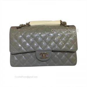 Chanel Medium Flap Bag Patent In Gray With Silver HW