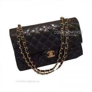 Chanel Medium Flap Bag Patent In Pearlite Iron Ash With Gold HW