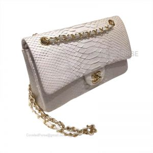 Chanel Medium Flap Bag White Python With Gold HW