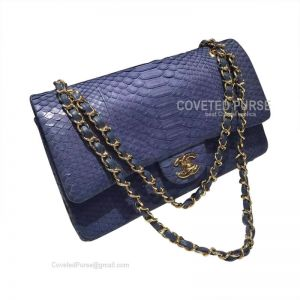 Chanel Medium Flap Bag Sapphire Blue Python With Gold HW