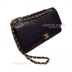 Chanel Medium Flap Bag Black Python With Gold HW