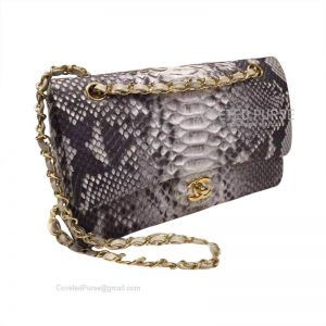 Chanel Medium Flap Bag Metallic Python With Gold HW