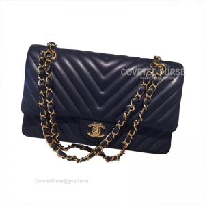 Chanel Medium Flap Bag Sapphire Lambskin Chevron With Gold HW