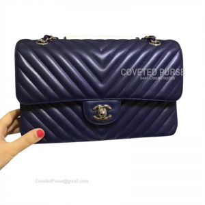 Chanel Medium Flap Bag Sapphire Lambskin Chevron With Silver HW