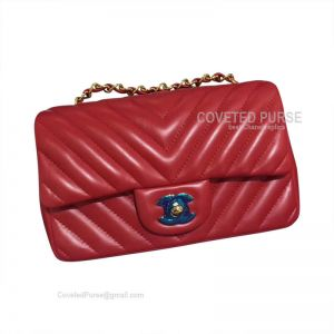 Chanel Medium Flap Bag Red Lambskin Chevron With Gold HW